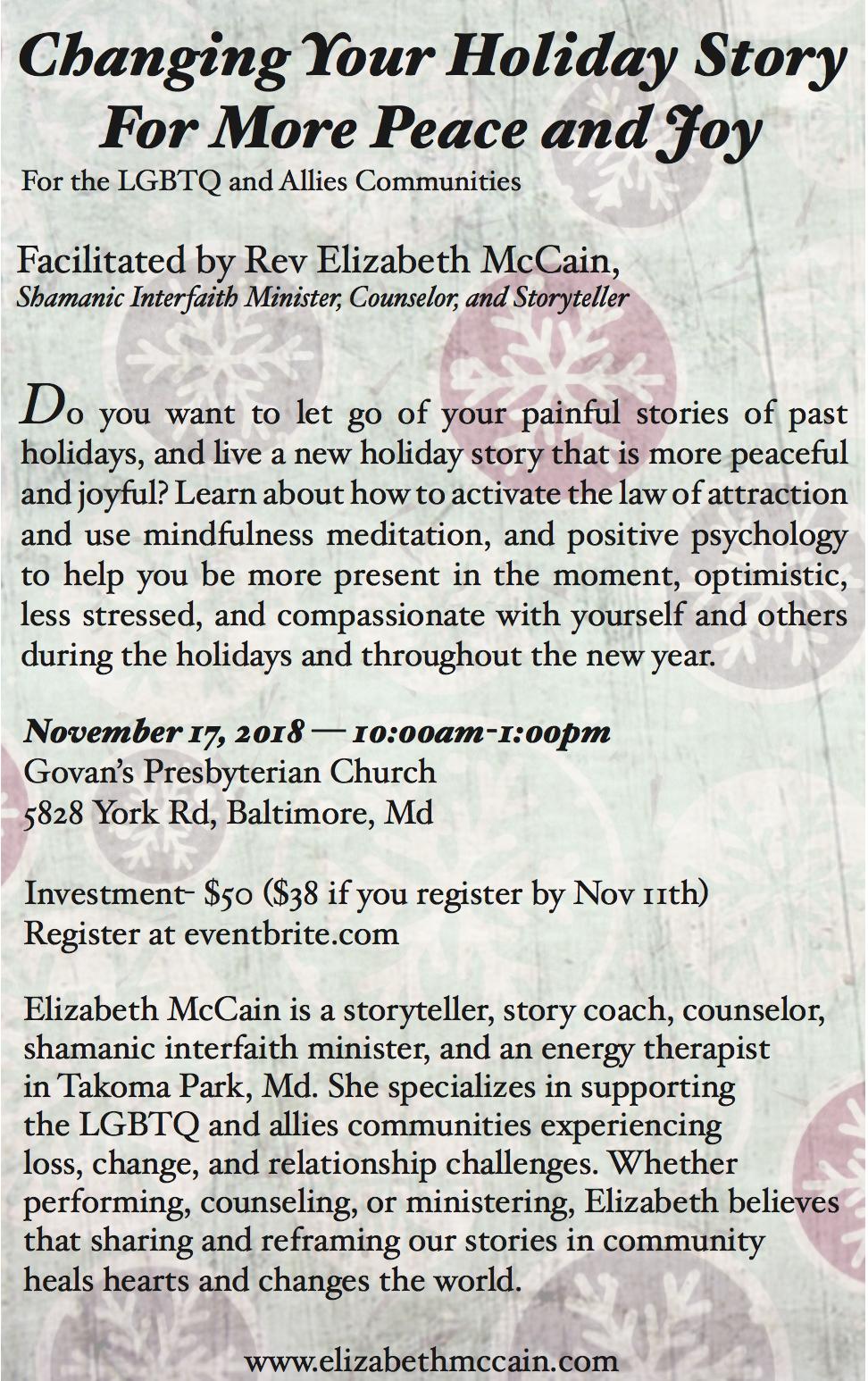 Special Workshop with Elizabeth   Baltimore, MD   Sat , Nov
